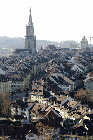 tenement buildings: BERN, SWITZERLAND - DECEMBER 26, 2015: General view of the Old Town roofs. The Capital City of Switzerland it is the 4th most populous city in the country