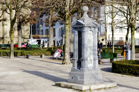 instigation: BERN, SWITZERLAND - DECEMBER 22, 2015: Column indicating constants geographic data for Bern, was created at the instigation of the Natural History Society of Berns built in 1873
