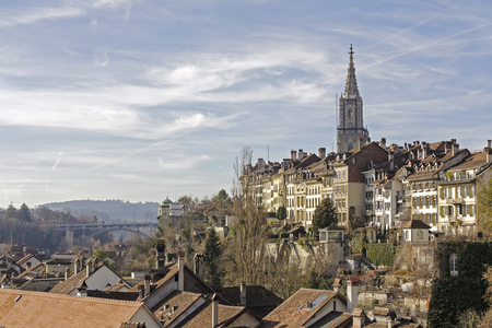 approx: BERN, SWITZERLAND - DECEMBER 22, 2015: General view towards the Old Town. Bern with a population of approx. 140000 citizens it is the fourth most populous city in Switzerland Editorial