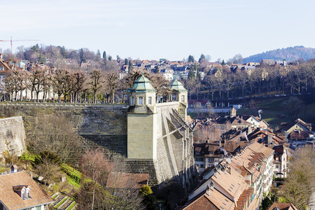 balustrades: BERN, SWITZERLAND - DECEMBER 22, 2015: Muenster platform is a rectangular square, surrounded by balustrades made of sandstone and two corner pavilions, nowadays is the viewing platform and park area