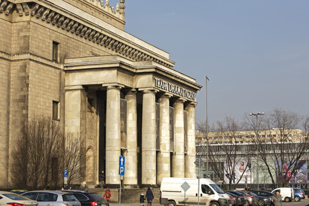 origins: Warsaw, Poland - February 28, 2016: Massive entrance to the Dramatic Theater. The theater origins date back to 1949, current seat is in the building of the Palace of Culture and Science since 1955 Editorial