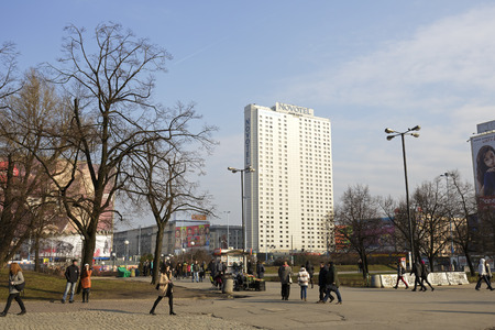 agglomeration: Warsaw, Poland - February 28, 2016: Skyscraper was built for Orbis next has been named Novotel and entered to Hotel Group Accor. It is one of the largest hotels in the city, was opened in 1974 Editorial