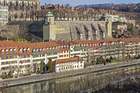 balustrades: BERN, SWITZERLAND - DECEMBER 22, 2015: Muenster platform is a rectangular square, surrounded by balustrades made of sandstone and corner pavilions, nowadays is the viewing platform and park area