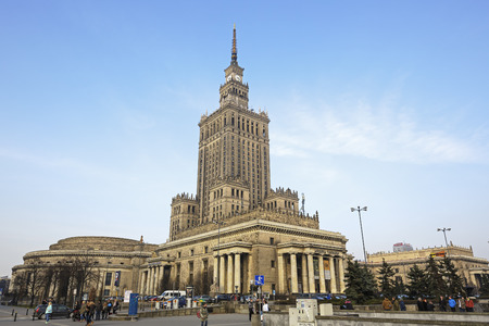 Warsaw, Poland - February 28, 2016: Palace of Culture and Science, the tallest building in Poland with an overall height of 237 meters. It is a home to many companies and public institutions Publikacyjne