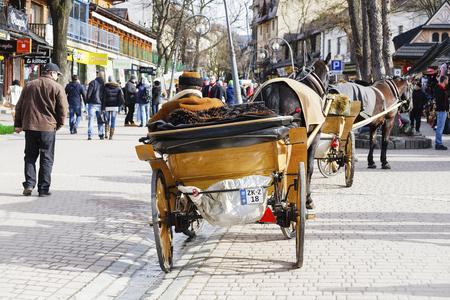 zakopane: ZAKOPANE, POLAND - MARCH 06, 2016: Coachman with harnessed horse waits for customers at Krupowki street in main shopping area and pedestrian promenade in the city center of Zakopane Editorial