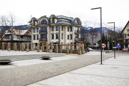 Polonia: ZAKOPANE, POLAND - MARCH 06, 2016: A modern apartment block built on the site of a former printing house - Polonia, on the ground floor of the building operates fine-dining restaurant since July 2014