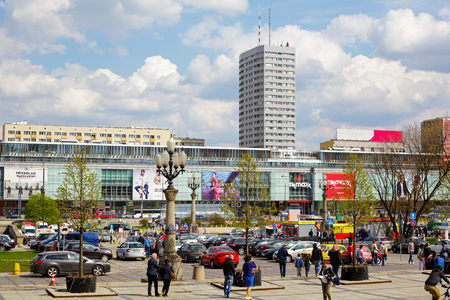 agglomeration: WARSAW, POLAND - APRIL 16, 2016: The urban complex of buildings along the street Marszalkowska in the downtown, built in the years 1962-1969 consists of skyscrapers, malls and lower buildings Editorial