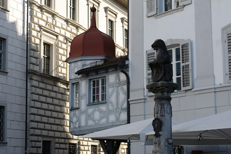 outbuilding: LUCERNE, SWITZERLAND - MAY 04, 2016: Half-timbered outbuilding in the old town shows unique character of the city and it offers for visitors variety of sightseeing attractions Editorial