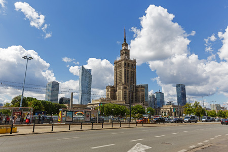 agglomeration: WARSAW, POLAND - JUNE 11, 2016: Palace of Culture and Science, the tallest building in Poland with an overall height of 237 meters. It is a home to many companies and public institutions