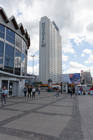 agglomeration: WARSAW, POLAND - JUNE 11, 2016: Skyscraper was built for Orbis next has been named Novotel and entered to Hotel Group Accor. It is one of the largest hotels in the city, was opened in 1974