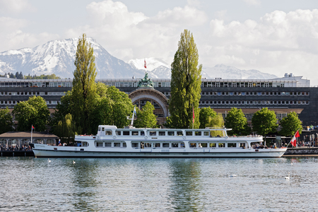 ms: LUCERNE, SWITZERLAND - MAY 04, 2016: MS Gotthard vessel built in the 1960s it is moored at the ferry terminal, which is located in front of the railway station Editorial
