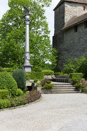 res: RAPPERSWIL, SWITZERLAND - MAY 10, 2016: Polish Column of Liberty (Kolumna Barska) it is a symbol of Swiss solidarity to nation who struggle for their freedom. It was erected in 1868 Editorial