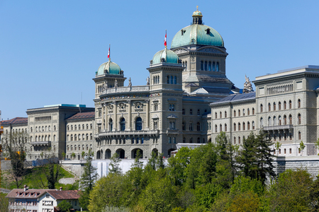 Bern, Switzerland - April 21, 2017: Large building of The Federal Palace, it is the seat of Federal Parliament (Swiss Federal Assembly), The Federal Council is housed here as well Éditoriale