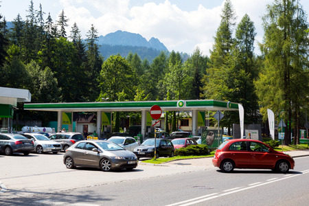 Zakopane, Poland  August 09, 2017: BP Gas Station that belongs to a global group of oil and gas companies. Mount Giewont is seen is a distance