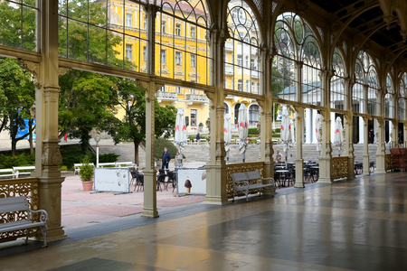 Marianske Lazne, Czechia - September 09, 2017: The neobaroque construction of the colonnade is visible from the inside and shows the beauty of this pavilion