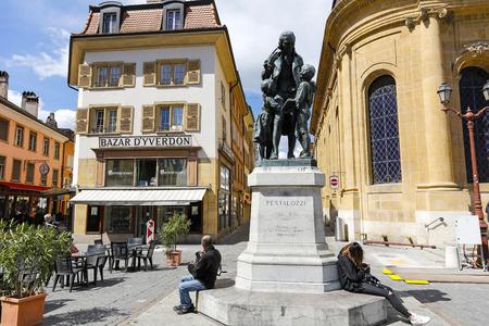 Yverdon-les-Bains, Switzerland - 18 April 2017: The monument commemorates the famous Swiss educator Johann Heinrich Pestalozzi. This is seen in the town square Editorial