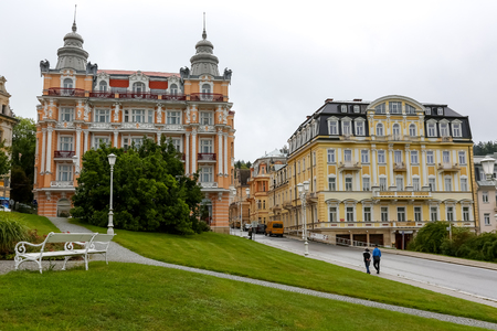 Marianske Lazne, Czechia - September 10, 2017: Hotel Hvezda is an example of unique architecture and a historic jewel in the centre of this spa town and nowadays it is a part of a unique spa complex