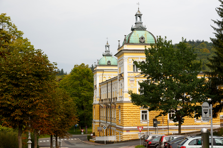 Marianske Lazne, Czech Republic - September 09, 2017: Hotel Nove Lazne (New Spa) seen from the side. The visible location almost in the park emphasizes the spa character of the city