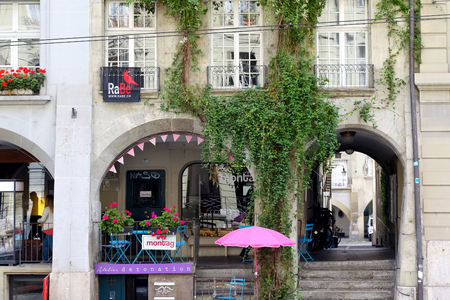 Bern, Switzerland - September 18, 2017: One of the most recognizable details of the architecture of the old town is the arcades, its total length in this city reaches several kilometers.