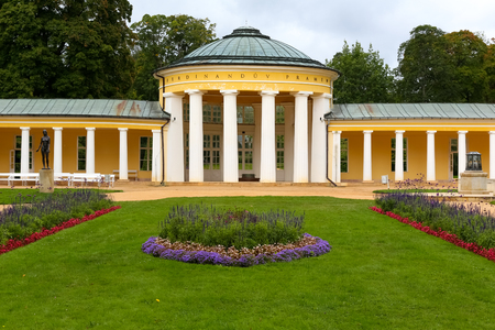 Marianske Lazne, Czech Republic - September 12, 2017: Pavilion of the Ferdinand Spring with its colonnade is seen in its central part. Whole building is much wider and is located in a public park