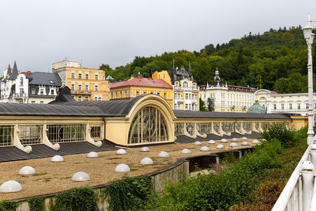Marianske Lazne, Czechia - September 10, 2017: Long roof of the colonnade. There are many windows which ensure proper illumination of the interior Redakční