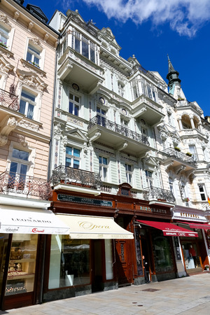 Karlovy Vary, Czechia - September 11, 2017: Colorful tenement houses during a sunny day. Ornamented facades adorns the promenade which is one of the many tourist attractions of this wonderful spa town 에디토리얼