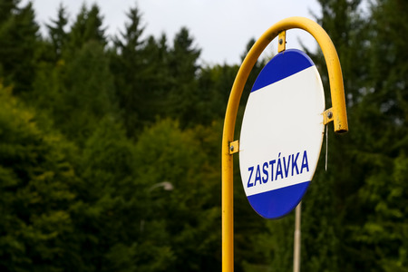 Marianske Lazne, Czech Republic - September 10, 2017: Traffic sign with visible the Zastavka inscription. This sign designates the bus stop.