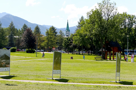 Zakopane, Poland - August 08, 2017: In the park, a temporary exhibition took place in the large lawn. This is visible in a park called the Rowien Krupowa by the names of former landowners. Editorial