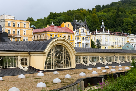 Marianske Lazne, Czechia - September 10, 2017: Many windows in the long roof ensure proper illumination of the interior of the Colonnade