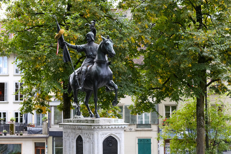 Bern, Switzerland - September 18, 2017: Monument to the Berne knight Rudolf von Erlach, the legendary winner who led the Swiss in 1339, victorious in the battle of Laupen. Editorial