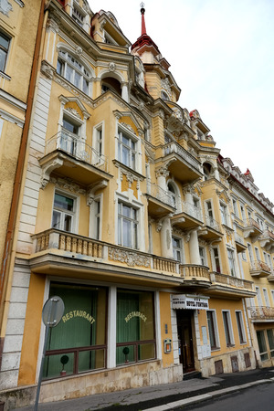 Marianske Lazne, Czechia - September 10, 2017: Tenement house by the street looks to be hotel. Above the entrances is the inscription Hotel Fontana.