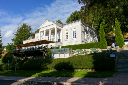 Marianske Lazne, Czech Republic - September 11, 2017: During a sunny day this historic building of Villa Patriot which was renovated in 2014 looks beautiful