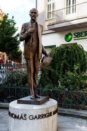 Karlovy Vary, Czechia - September 11, 2017: The bronze monument commemorates the first Czechoslovak President Tomas Garrigue Masaryk.