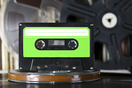 Compact cassette and other sound recording and storage media Stock Photo