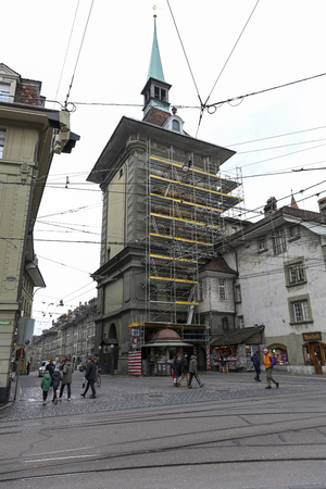 Bern Switzerland - February 21, 2018: This clock tower, which is now fully scaffold for renovation purposes, is locally called Zytglogge Éditoriale