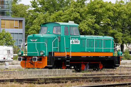 Kolobrzeg, Poland - June 14, 2018: Side view of green 401Da locomotive, which was manufactured in the second half of the century in Fablok