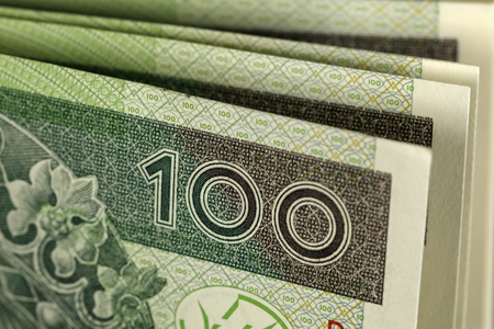 Polish hundred zloty banknotes are seen from a close distance. Reklamní fotografie