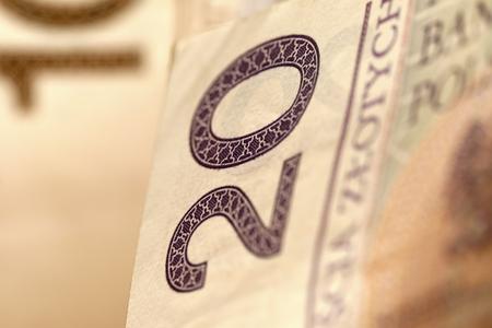 A banknote of twenty Polish Zloty creates financial background 版權商用圖片
