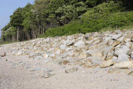 Stones protecting dunes and very lush vegetation. It is a view observed on one of the beaches in Kolobrzeg, Poland.