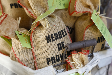 Nice, France - September 21, 2018: Provencal herbs are put on sale on the stand. This is an example of one of many possible culinary gift from this region of France.
