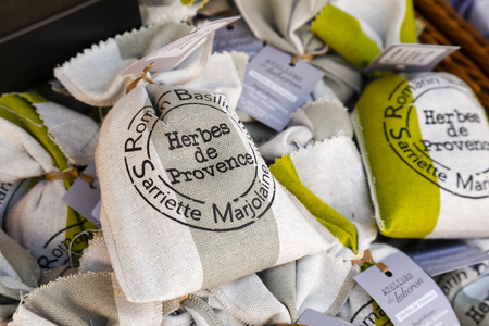 Nice, France - September 19, 2018: In small bags, Provencal herbs are put on sale on the stand. This is an example of one of many possible culinary gift from this region of France. Sajtókép