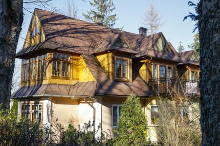 Zakopane, Poland - November 17, 2018: This traditional stylish family house is locally named Amazonka and dates back to 1910.