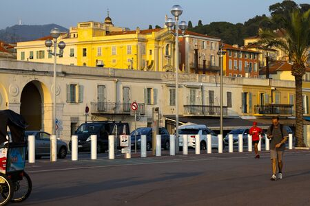 Nice, France - September 20, 2018: There are Les Ponchettes, these are small houses of former local fishermen, nowadays there are galleries in these buildings, restaurants and cafes.