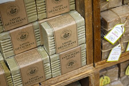 Nice, France - September 18, 2018: Soap cubes, which are on sale, have been pre-packaged and prepared in the form of a gift. Such soaps are popular souvenirs from Provence.