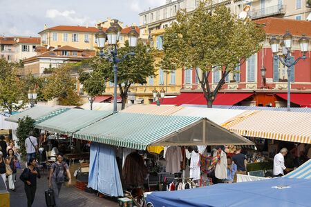 Nice, France - September 17, 2018: Canvas roofs over the famous market commonly called Cours Saleya. It is the famous Municipal Market offering a variety of products ranging from herbs to antiques. Editorial