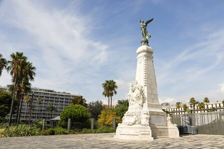 Nice, France - September 17, 2018: Monument to the centenary of the unification of Nice with France, which took place in 1793. The pyramid-shaped monument is crowned with a bronze female statue. 에디토리얼