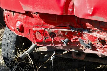The rear part of the car after a road accident is considerably bent. Banque d'images