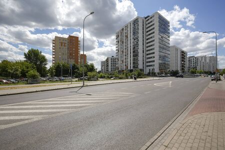 Warsaw, Poland - July 02, 2019: Contemporary Buildings. This modern part of the city district is known locally as Goclaw and is known for its large green areas in close proximity to residential areas.