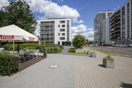 Warsaw, Poland - July 02, 2019: Housing estate. This modern part of the city district is known locally as Goclaw and is known for its large green areas in close proximity to residential areas. Redakční