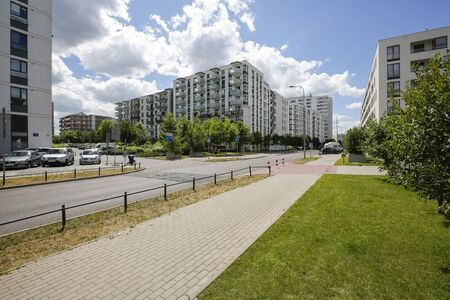 Warsaw, Poland - July 02, 2019: Modern architecture. This modern part of the city district is known locally as Goclaw and is known for its large green areas in close proximity to residential areas.